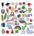 patches collection with reading unicorn vector image vector image
