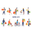 people at supermarket doing shoppingman and woman vector image