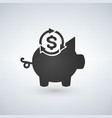 piggy bank icon investment concept with arrows vector image vector image