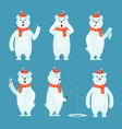 polar bear cartoon ice snow white funny wild vector image