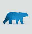 polar bear polygon blue silhouette vector image