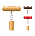 realistic detailed 3d corkscrew and cork set vector image vector image
