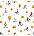 seamless pattern with people riding bikes in vector image vector image