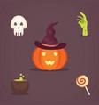 set halloween in cartoon vector image vector image