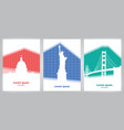 set of cards with landmarks usa on colorful vector image