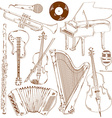 set of isolated sketch musical instruments vector image