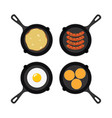 set pans with breakfast food vector image vector image