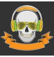 skull with headphones and sunglasses vector image vector image