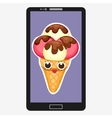 Smartphone with Ice Cream in flat cartoon style vector image vector image