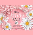 spring sale banner template with daisy flower for vector image vector image