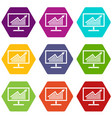 statistics on monitor icon set color hexahedron vector image vector image