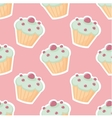 tile pattern with cupcake on pink background vector image vector image