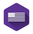 white american flag icon isolated with long shadow vector image vector image