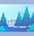 winter landscape with trees and foliage vector image