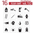 black firefighter icons set vector image
