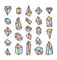 set of geometric crystals trendy design elements vector image