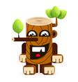 a cartoon big tree stump vector image vector image