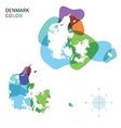 Abstract color map of Denmark vector image vector image