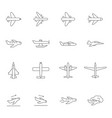airplane outline icons airline passenger aircraft vector image