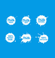 badges milk set splash and blot isolate on vector image