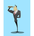 Businessman looking through spyglass and smiling vector image vector image