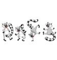 cartoon lemurs set vector image vector image