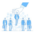 choice employer hand choosing man from selected vector image vector image