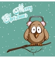 Christmas Card Sparrow In Scarf vector image vector image
