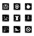 Classes in gym icons set grunge style vector image