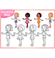 Coloring page for girls Four young ladies in vector image vector image