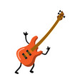cute red electric guitar funny characterwith rock vector image vector image