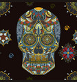 day dead sugar skull seamless pattern vector image