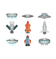 detailed collection of spaceships in flat style vector image vector image
