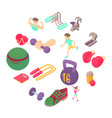 fitness icons set isometric 3d style vector image vector image