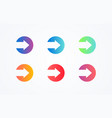 flat button colorful play sign icon button set vector image