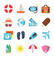 flat style pictures of summer travel symbols vector image vector image