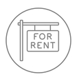 For rent placard line icon vector image
