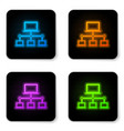 glowing neon computer network icon isolated on vector image vector image