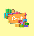 great sale inscription surrounded by presents vector image vector image