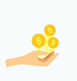 hand holding golden bitcoin vector image vector image