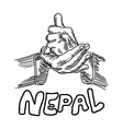 hand sign for HELP with the word NEPAL vector image vector image