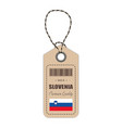 hang tag made in slovenia with flag icon isolated vector image