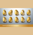 happy easter decoration set with realistic golden vector image vector image