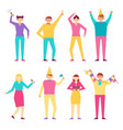 happy people at birthday party isolated vector image
