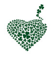 heart made up of three leaf clover vector image