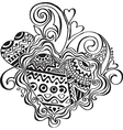 Heart with patterns in ethnic style vector image vector image
