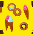 ice-cream and doughnut seamless pattern vector image