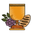 Isolated religion cup bread and grapes design vector image vector image