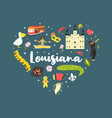 louisiana poster with symbols and elements vector image vector image