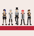 lovely visual kei men different hairstyles vector image vector image